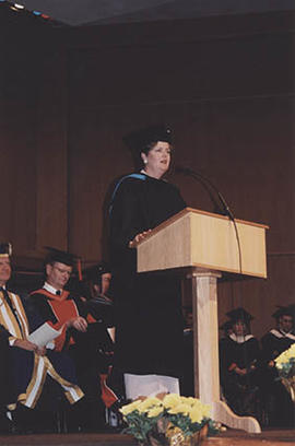 Commencement speaker Sharon Hayes at Graduation 1999