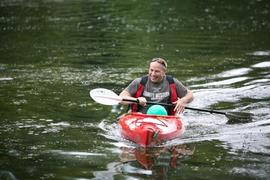 Derek Dawson kayaking during the annual Community Day
