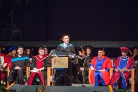 English professor Lynn Szabo addressing graduates