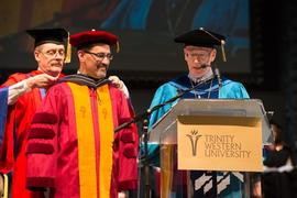 Violinist Calvin Dyck receiving an honourary doctorate at Grad 2013