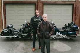 President Bob Kuhn with fellow motorcyclist Andrew Westlund