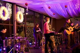 A band performing at the Spirit of Christmas