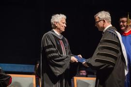 President Bob Kuhn awarding an honorary doctorate to Nicholas Wolterstorff