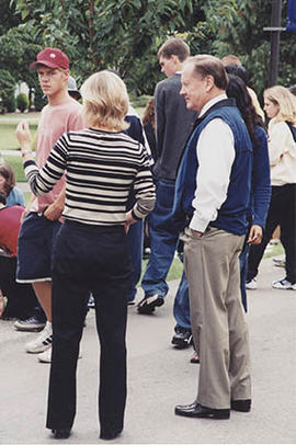 President Neil Snider observing activities, during O-Week