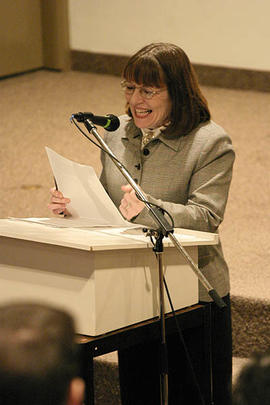 Barbara Pell speaking at the November 2005 launch of the MAIH program