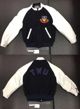 Navy and white TWU jacket with crest