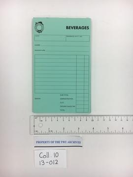 Laurentian Club Beverages Receipt Pad