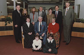 Alloway family inside the library