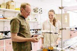 Professor Paul Brown with student Isabella Di Trocchio, in one of the science laboratories