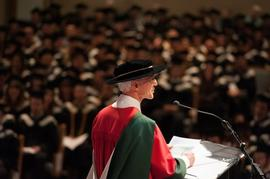 Harold Faw presenting the commencement address at Grad 2013