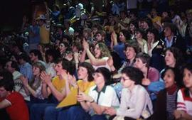 Students cheer at an unidentified event in the David E. Enarson Gymnasium.