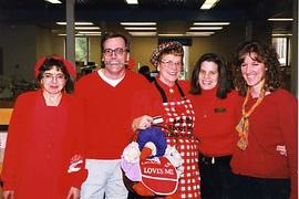 Library staff wearing red for Valentine's Day