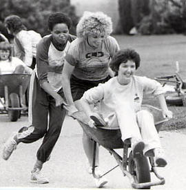 Wheel-barrow race during The Challenge