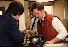 Phil Dufrene at a dispatch counter