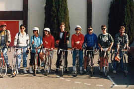 Group of students posing with their bicycles
