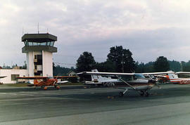 A plane parked at the Langley Airport