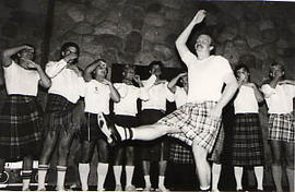 Students wearing kilts during the Hootenanny