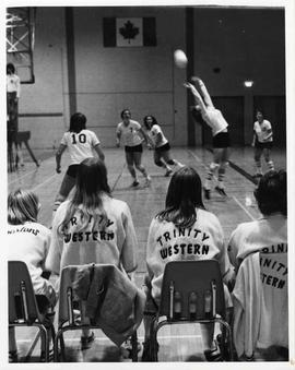 Women's volleyball game in the gymnasium