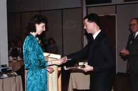 Stopforth presenting Maelene Fodor with an award