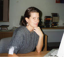 Library staff member Sharleen Buist at her desk