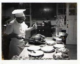 Chef Jenstad carving a turkey