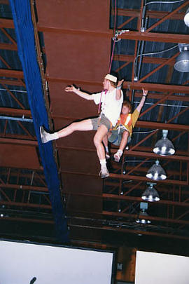 Two students doing an aerial ballet for the Variety Show