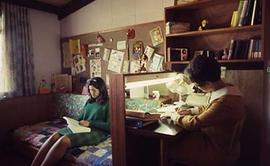 Students studying in their residence.