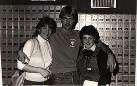 Students in the Douglas Hall mailroom