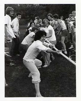 Students playing tug-a-war during O-Week