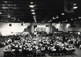 View of the graduation ceremony in the gym