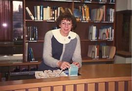 Library clerk working in the library