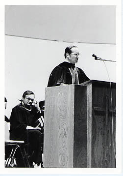 President Snider speaking at graduation ceremony