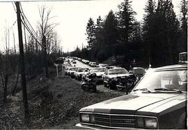 Cars parked along Glover Road