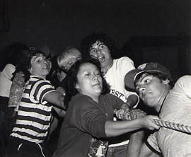 Jim Adrian and other students in tug-of-war