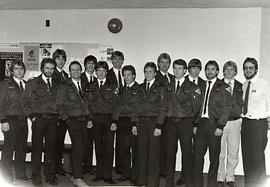 Aviation students posing in their uniforms