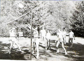 Students playing volleyball at a picnic