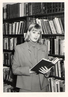 Judith Johnston in the library