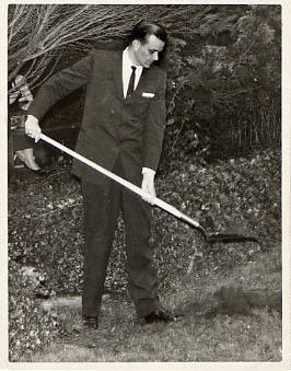 Calvin Hanson holding a shovel at the first sod turning