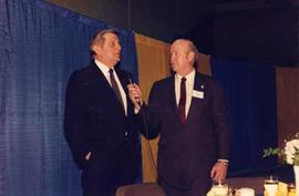 Benno Friesen, Member of Parliament (Whiterock-Surrey-Delta, BC-PC, 1974-93) addressing the guests