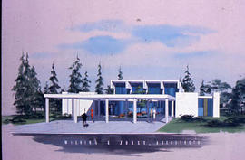 Slide 79 - architectural drawing of the Vernon Strombeck Library