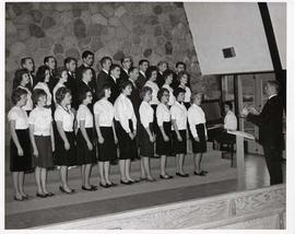 Choir members singing together
