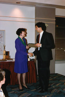 Ian Uhryn receiving an award