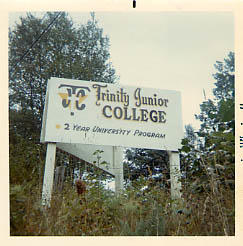 A TJC sign advertising for the college