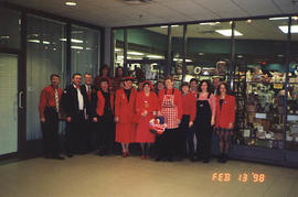 Various staff standing together on Dress Red Day