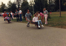 Wheel barrow race during The Challenge