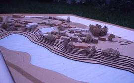 Architectural model showing proposed campus plan.