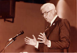 Calvin Hanson speaking during Founders' Week