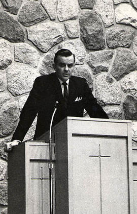 Calvin Hanson preaching in the chapel