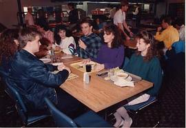 Students in the cafeteria during Insight 88