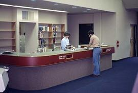 The circulation desk in the Vernon Strombeck Library